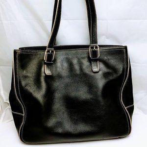 Ann Taylor Classic Black Tote/Satchel Leather Bag